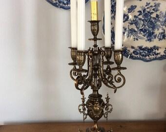 Vintage bronze altar candelabra candle holder Portugal reproduction