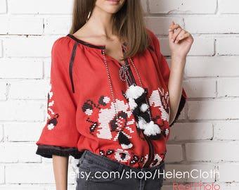 Ukrainian Linen Vyshyvanka Blouse Bohemian Embroidered Ethno Top Vyshyvanka Style Mexican Blouse Free shipping
