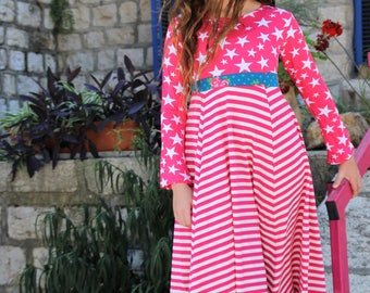 I'm pink This beautiful Twirly Dress is handmade with lots and lots of love