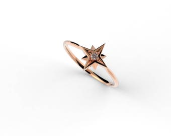 14k Diamond Star Ring, North Star Ring, Dainty Ring, Solid Gold Ring, Tiny Diamond Ring, Minimal Jewelry, Stacking Ring, Astrology Jewelry