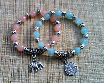 Stackable Elephant and Tree of Life Charm Bracelet