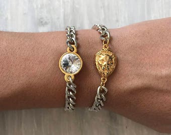 Swarovski Crystal Bracelet, Swarovski Bracelet, Crystal Bracelet, Gold Lion Bracelet, Made in Greece by Christina Christi Jewels.