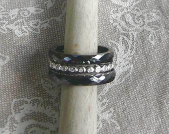 "Silver ring and ceramic ""Trio"" Anthracite"
