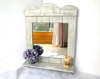 Miroir en bois de palette avec étagère de style champêtre - Décoration murale en palette par Pleasant Home