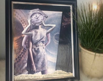 """Pop Surrealism Mixed Media Art: """"The Essence of Time""""- Surreal Clockwork Dreamscape - Female Steampunk Creature - Sheet Music Assemblage"""