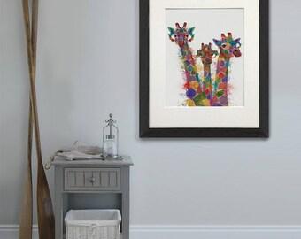 Gift for family - Giraffe trio print - Family wall art Family gift ideas Unique family gift Couple gift Gift for new mum Gift ideas for mom