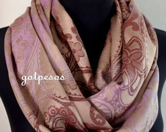 Pashmina Snood, infinity Scarf, loop scarf, circle scarf, Paisley Pashmina Shawl, infinity pashmina, beige brown lilac pashmina scarf