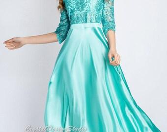 Holiday dress Floor length dress Turquoise Maxi dress Prom Dress Cocktail Dress long sleeve Party dress dark blue atlas dress satin
