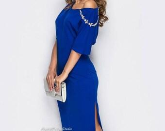 Elegant asymmetric dress Maxi dress spring Tight dress Women's dress Royal Blue Floor length dress  Holiday dress Prom Dress short sleeve