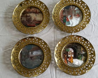 set of 4 antique round brass wall hanging framed pictures plate photos filigree leaves rims - made in england - victorian ornate art deco