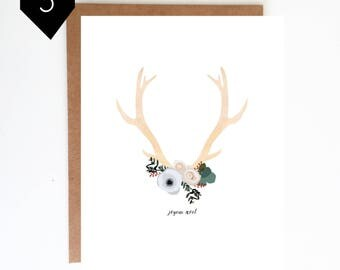 Set of 5 - Antlers Holiday Card