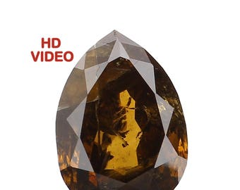 0.90 Ct Natural Loose Diamond Cut Pear Shape Deep Fancy Color 7.30X5.16X3.00 MM I1 Clarity N5691