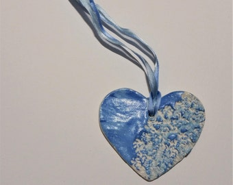 Blue Ceramic Heart with lace effect