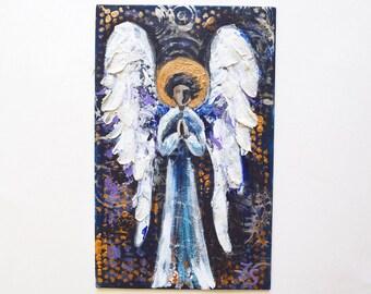 Angel Small Acrylic Painting Original painting angel Small painting angel Painting on cardboard Textured painting original art painting