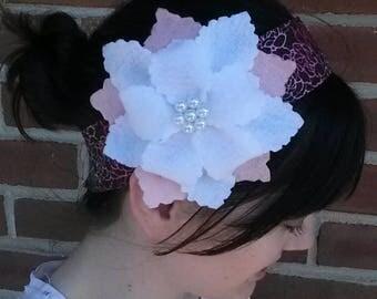 white/pink felt flower with beading on purple/pink/white headband