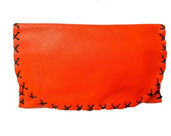 Leather Tobacco Pouch with Magnet | Orange Tobacco Pouch | Bifold Tobacco Case | Tobacco Leather Bag | Up to 50gr