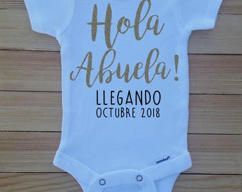 Pregnancy Announcement Onesie®, Hola Abuela! Onesie, Grandparent Baby Reveal, Family Baby Reveal, Spanish Pregnancy Announcement