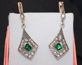 Earrings vintage USSR silver 875 chrysolite