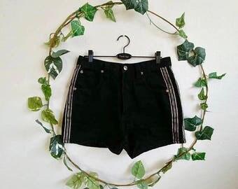 Vintage Black Racer Stripe Shorts