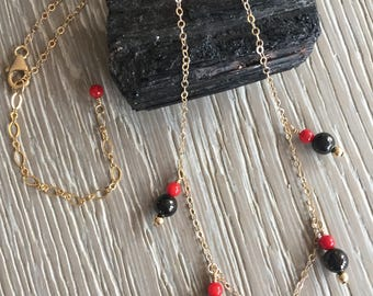 Azabache Gold Filled Necklace, Jet Gemstone, Bamboo Coral,  Gold Filled Wire and Chain, Boho Chic