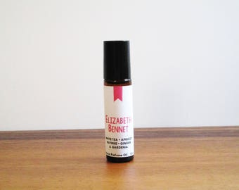 ELIZABETH BENNET / White Tea Apricot Nutmeg Ginger & Gardenia / Book Inspired / Jane Austen Collection / Roll-On Perfume Oil