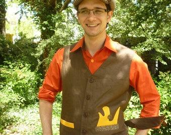 Saffron yellow and dark brown linen vest man
