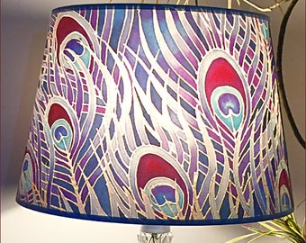 Peacock Feather Lampshade - Purple Lilac Beaujolais Pale Blue - Silk Painting Print Lamp Shade - Living Room Ceiling Light - Bedroom Decor