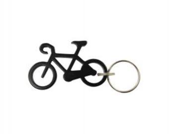 Bicycle Keychain & Keyring - Bottle Opener - Black