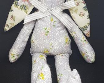 Grey Floral 100% Cotton Fabric Bunny