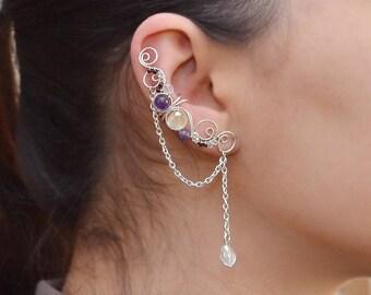 Fake earrings Bohemian ear cuff earrings February birthstone Drop earrings Unique ear piercings Conch earrings ear cuff non pierced