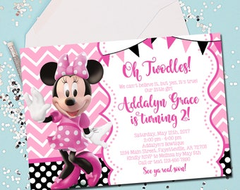 Oh Twodles Invitation Oh Twodles Birthday Minnie Mouse - Minnie mouse birthday invitations blank
