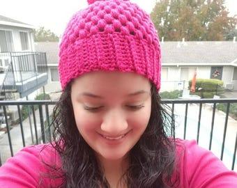 Crochet Puff Pom Pom Hat, Puff Pom Pom Hat, Crochet Winter Hat, Puff Pom Pom Beanie, Pom Pom Beanie