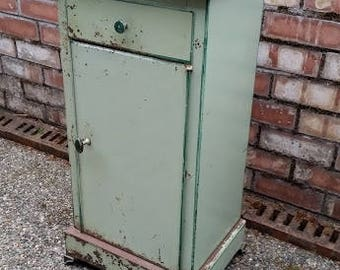 Vintage Metal Nightstand - Vintage French Metal or Tole Painted Green Nightstand, Antique French Chevet