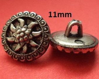 10 small Buttons Silver 11 mm (4205) Edelweiss blouse Button Knob