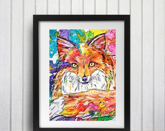 Fox wall art, Vixen art print, Fox art print, Fox decor, Brightly colored, Watercolor art, Fox lover gift