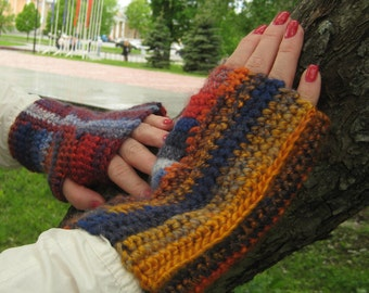 Gift for wife Boho accessories Knit fashion Wool mittens Fingerless gloves Winter mittens Knit mittens womens Arm warmer Knit gloves