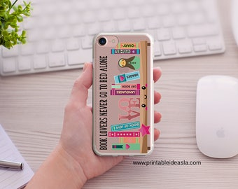 BOOK LOVERS Never Go To Bed Alone iPhone Case, Kawaii,  Art Book Lover Clear iPhoneCase, 5/5s/SE, iPhone 6/6s, iPhone 6Plus/6sPlus, 7/7Plus