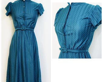 Teal Polka-Dotted 70s Ruffle Day Dress