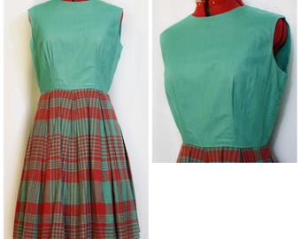 Red and Green Plaid 60s Dress