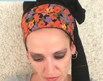 Tichel,Head Covering for Women,Charming Black and Floral Tichel,Chiffon and Lycra,Colored stones,Jewish Tichel,Head Wrap,Chemo Hats,Head