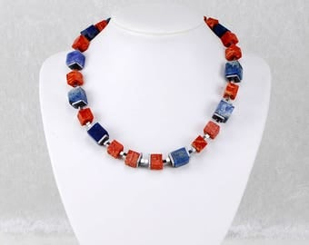 Summer-ready Red Blue Silver Cube Necklace – Geometric Crystal Necklace, Gemstone Necklace
