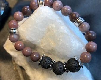 Purple Aventurine and Lava Rock Essential Oil Diffuser Woman's Bracelet