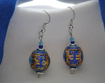 Cloisonee Blue  Drop  Earrings