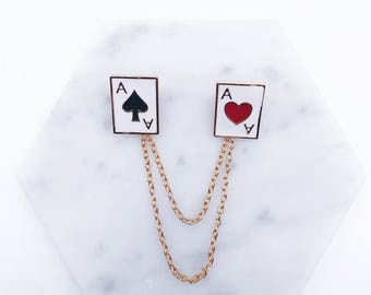 Playing cards collar pins- clubs, spades, hearts, diamonds; hearts collar pins; black red pin; alice in wonderland pin; Poker pin