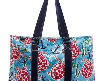 Embroidered Sea Turtle Utility Tote-Embroidered Utility Tote-Monogram Utility Tote-Personalized Tote-Monogram Carry All Bag