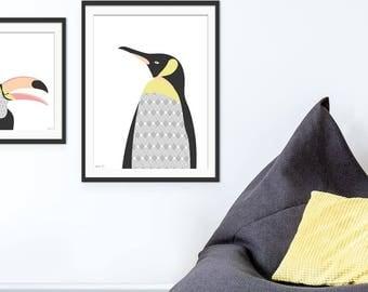 Penguin Art Print, Penguin Art,  Penguin Picture, Nursery Wall Art, Children's Art, Wall Decor, Children's Gift.