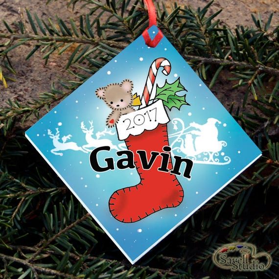 Personalized Christmas Ornament, Red Christmas Stocking, Name and Year, Christmas Tree Ornament