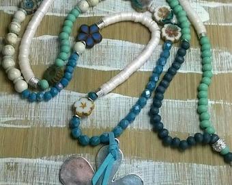 Long chain flower power flower glass beads wooden beads ceramic beads Katsuki blue turquoise