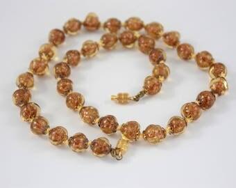 Art Deco Aventurine Glass Necklace, Short Vintage Necklace, Gold Glitter Bead Necklace, Venetian Glass Necklace