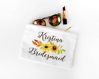 Sunflower Wedding Bridesmaid Gift, Fall Wedding Personalized Makeup Bag, Makeup Bag Zipper Pouch, Bridesmaid Cosmetic Bag, Maid of Honor Bag
